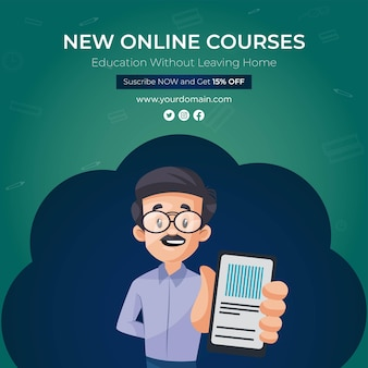 Banner design of new online courses template
