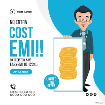 Banner design of no extra cost for emi
