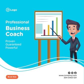 사업가의 배너 디자인 그래프 차트를 보이고있다