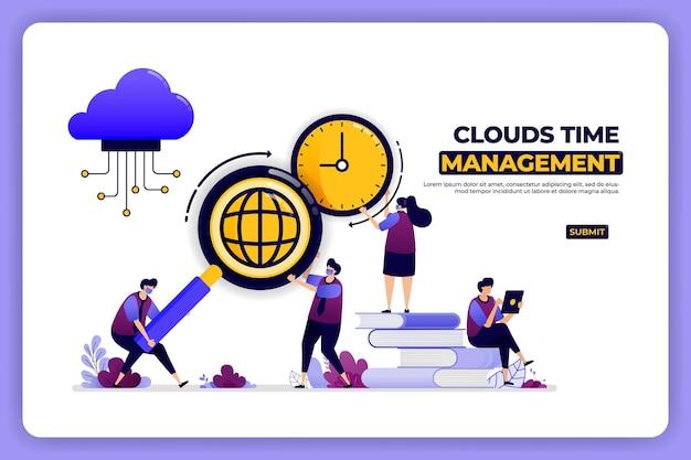 구름 시간 관리의 배너 디자인. 클라우드 스토리지 작업의 시간 관리.