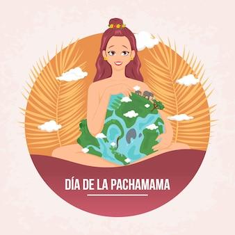 Дизайн баннера диа де ла пачамама мультяшном стиле иллюстрации Premium векторы