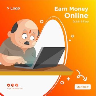 Дизайн баннера для заработка денег в интернете с индийским мужчиной, работающим на ноутбуке