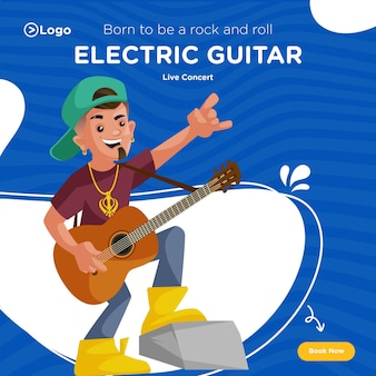 エレクトリックギターライブコンサートのバナーデザイン