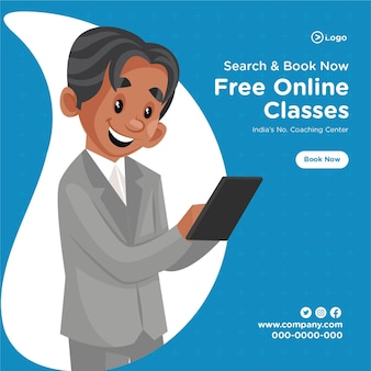 無料オンライン クラス コーチング センターの漫画のスタイル テンプレートのバナー デザイン
