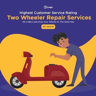 最高のカスタマーサービス評価の二輪車修理サービスのバナーデザイン
