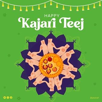 Дизайн баннера индийского фестиваля happy kajari teej template