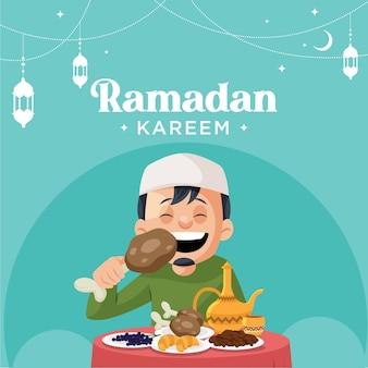 イスラム教徒の祭りラマダンカリームのバナーデザイン