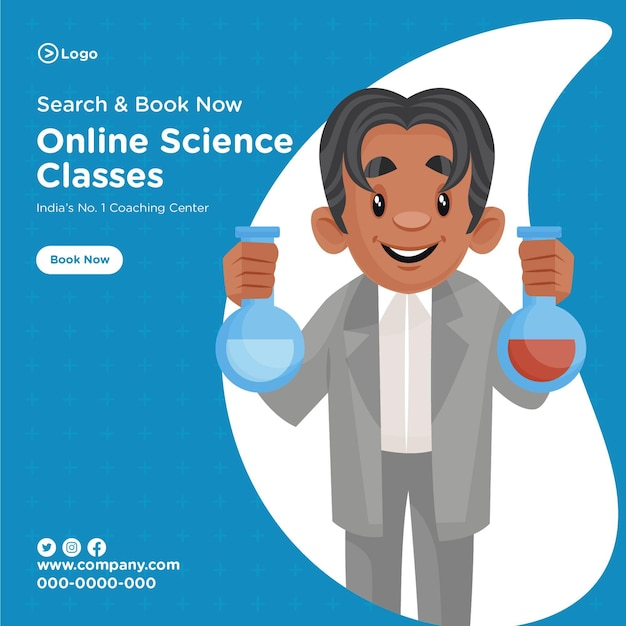 Banner design of online science classes coaching center cartoon style template