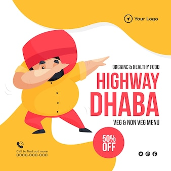 Banner design of organic and healthy food on highway dhaba template