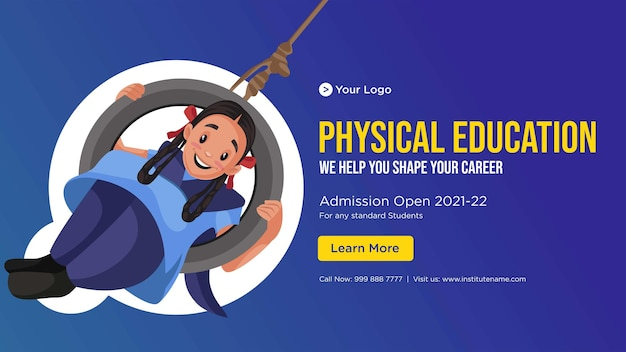 Banner design of physical education cartoon style template