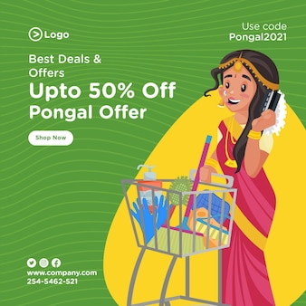 Banner design of pongal festival best deals and offer template