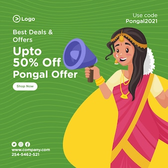 Banner design of pongal offer template