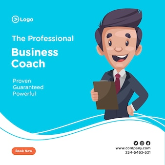 Banner design of professional business coach holding a clipboard in hand.