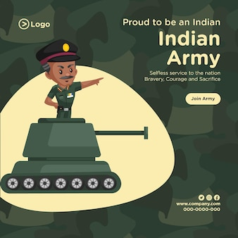 Banner design of proud to be an indian army cartoon style