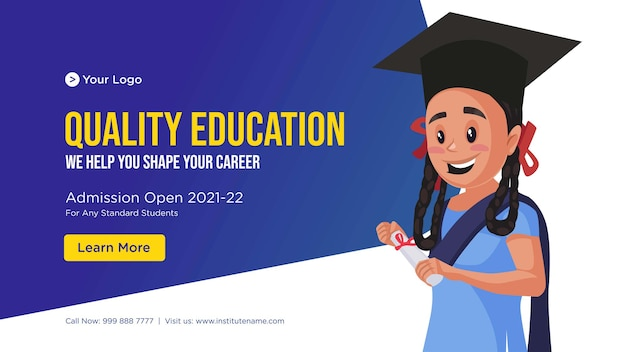 Banner design of quality education cartoon style template