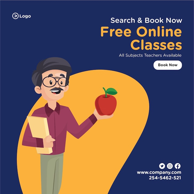 Banner design of search and book free online classes