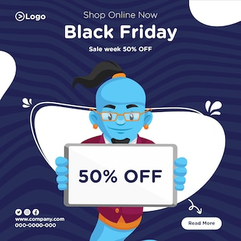 Banner design of shop online now black friday template