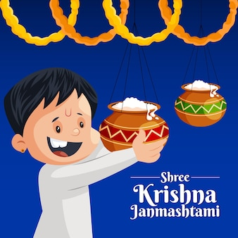 Banner design of shree krishna janmashtami indian festival template