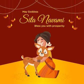 Banner design of sita navami bless you with prosperity template