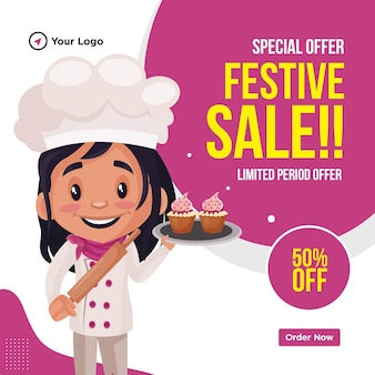 Banner design of special offer festival sale cartoon style template
