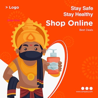 Banner design of stay safe stay healthy template