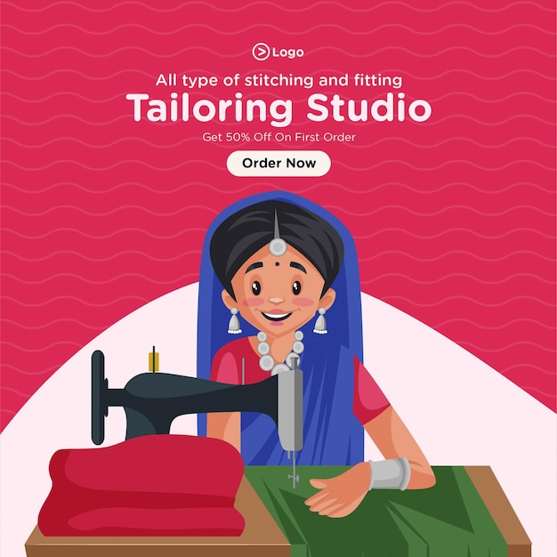 Banner design of stitching and fitting tailoring studio
