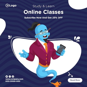 Banner design of study and learn from online classes template