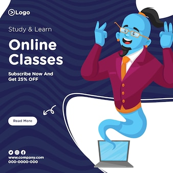 Banner design of study and learn online classes template