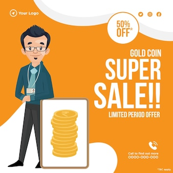 Banner design of super sale on gold coin template