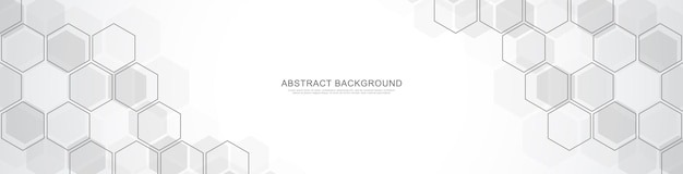 Banner design template. abstract background with geometric shapes and hexagon pattern.