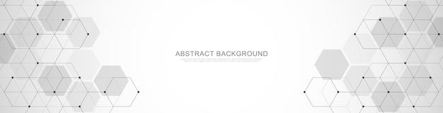 Шаблон оформления баннера. аннотация с геометрическими формами и шестиугольником. иллюстрация для медицины, техники или научного дизайна.