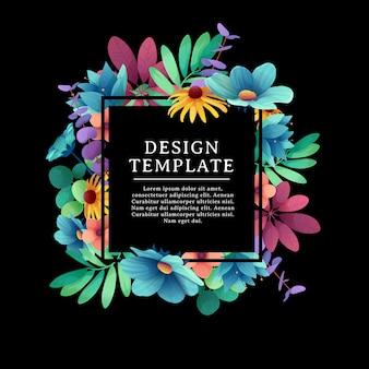 花飾り付きバナーデザインテンプレートです。花、葉、小枝の装飾が施された黒い正方形のフレーム。夏の花束と黒の背景上のテキストのための場所での豪華な招待状。