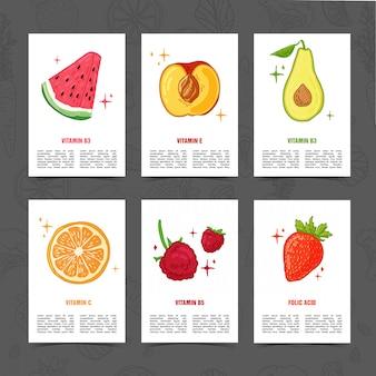 食品の装飾とバナーデザインテンプレートです。健康的でジューシーなフルーツの装飾が施されたカードを設定します。テキストとロゴのハーブ、ベリー、健康食品のためのスペースを持つメニューテンプレート。 。