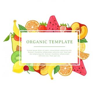 Шаблон дизайна баннера с украшением фруктов. прямоугольная рамка с декором из полезных, сочных фруктов. карточка с пространством для текста на фоне естественной летней вегетарианской еды. ,