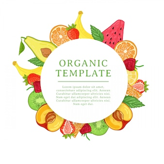 Шаблон дизайна баннера с украшением тропических фруктов. круглая рамка с декором из здоровых, сочных фруктов. карточка с пространством для текста на фоне естественной летней вегетарианской еды. ,