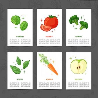 野菜の装飾が施されたバナーデザインテンプレートです。健康的でジューシーなフルーツの装飾が施されたカードを設定します。ハーブ、ベリー、ベジタリアン料理のテキスト用のスペースを持つメニューテンプレート。 。