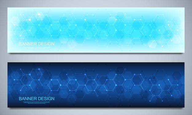 분자 구조 배경 및 화학 공학이 있는 사이트의 배너 디자인 템플릿 및 헤더. 과학, 의학 및 혁신 기술 개념입니다.
