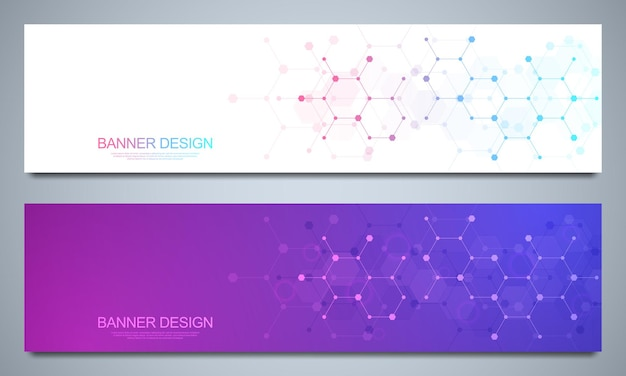 Banner design templates and headers for site with molecular structures background