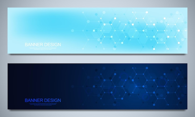 Banner design templates and headers for site with molecular structures