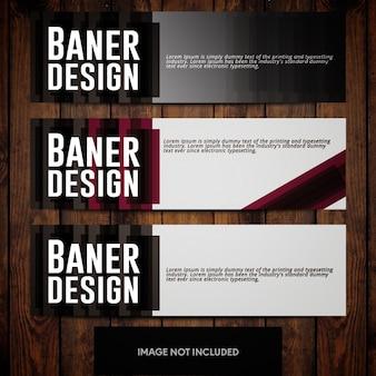 Modelli di design per banner con rettangoli grigio scuro e rosso