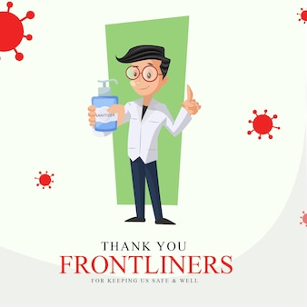Banner design of thank you frontliners for keeping us safe and well