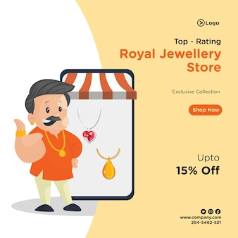Banner design of top rating royal jewellery store template