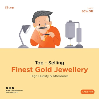 Banner design of top selling finest gold jewellery