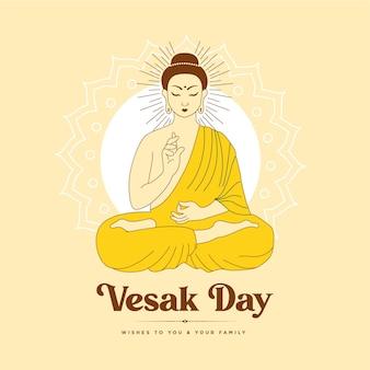 Banner design of vesak day cartoon style template Premium Vector