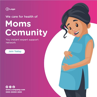 Banner design of we care for the health of moms community cartoon style illustration
