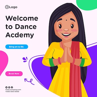 Banner design of welcome to dance academy in cartoon style