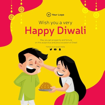 Banner design of wish you a very happy diwali cartoon style template
