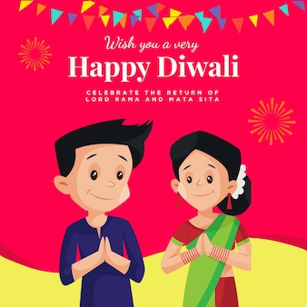 Banner design of wish you a very happy diwali indian festival cartoon style template