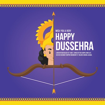 Banner design of wish you a very happy dussehra indian festival template