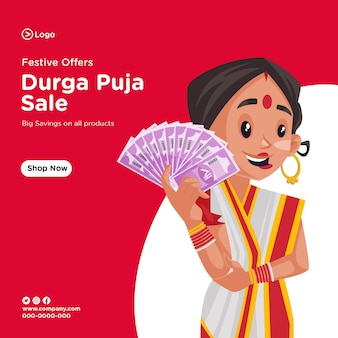 Banner design of wishing you all very happy durga puja sale